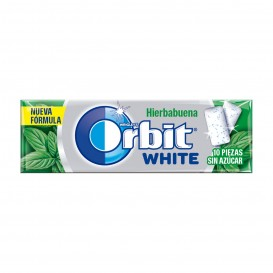 CHICLE ORBIT GRAGEA WHITE HIERBABUENA