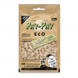 FILTROS PAY-PAY ECO SLIM 6mm + LIBRITO PAY-PAY GOGREEN REGULAR, BOLSA DE 200 FILTROS + LIBRITO