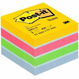 MINI CUBO NOTAS POST-IT 51*51 AMARILLO, ROSA, VERDE Y AZUL