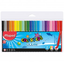 ROTULADOR ESCOLAR MAPED COLOR´PEPS OCEAN, ESTUCHE 24 COLORES